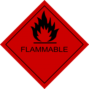"A sign that says ""Flammable""."