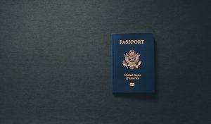 Dark blue US passport.