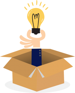 An illustration of a hand hodling a light bulb and coming out of a cardboard box.