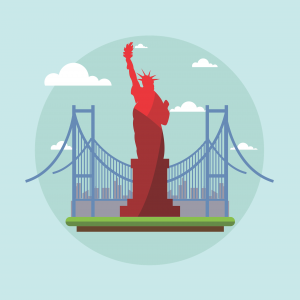 AN illustration of The  Statue of Liberty.