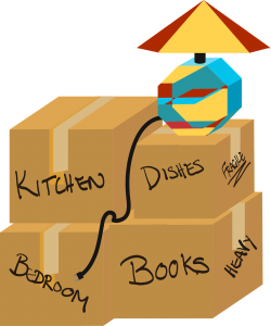 An illustration of packed and labeled moving boxes.