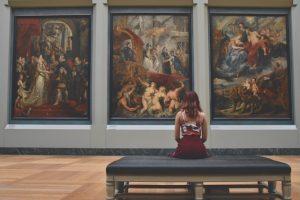 Person staring at art.
