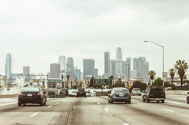 A highway with people leaving LA for NYC.