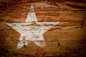 A star on a wooden crate.